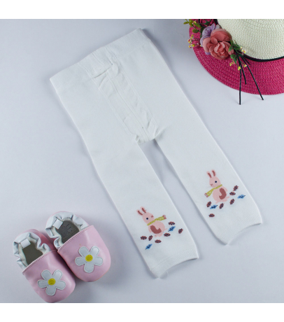 Pink Bunny Design White Stockings For Girls