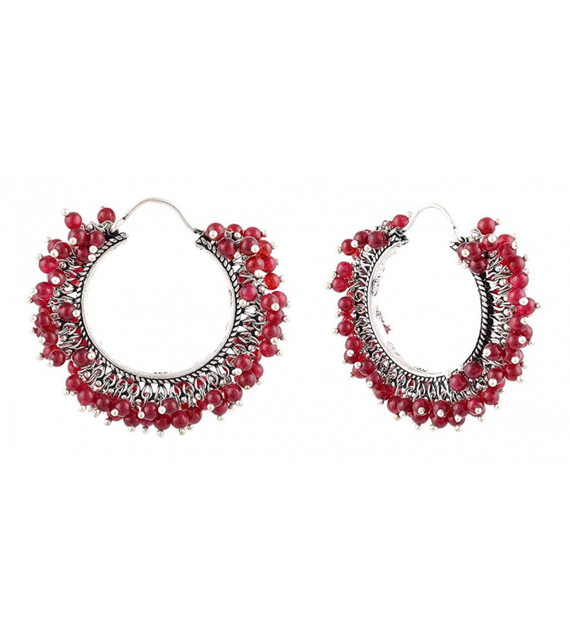 German Silver Chandbali With Red Beads