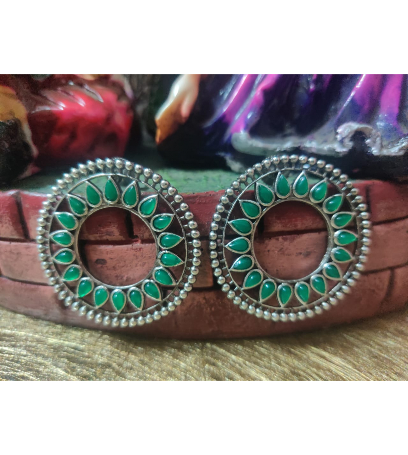 Green Stone Studded Round Earrings