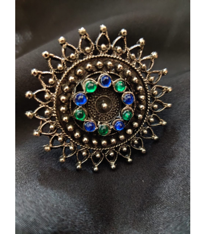 Afghani Blue N Green Stone Studded Adjustable Ring