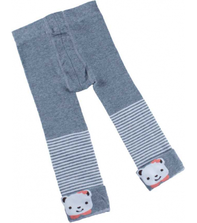 White Teddy N Stripes Design Grey Stockings For Girls