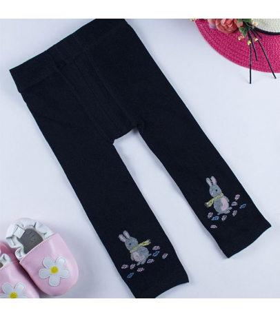 Bunny Design Black Stockings For Girls