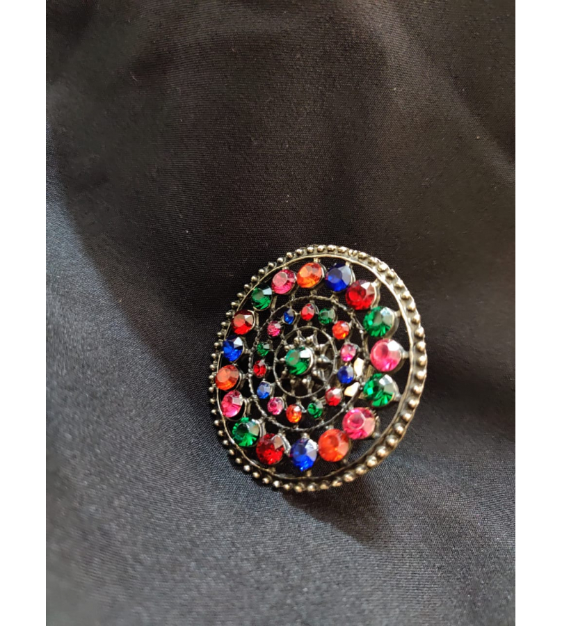 Multi Stone Studded Round Earrings And Ring Combo