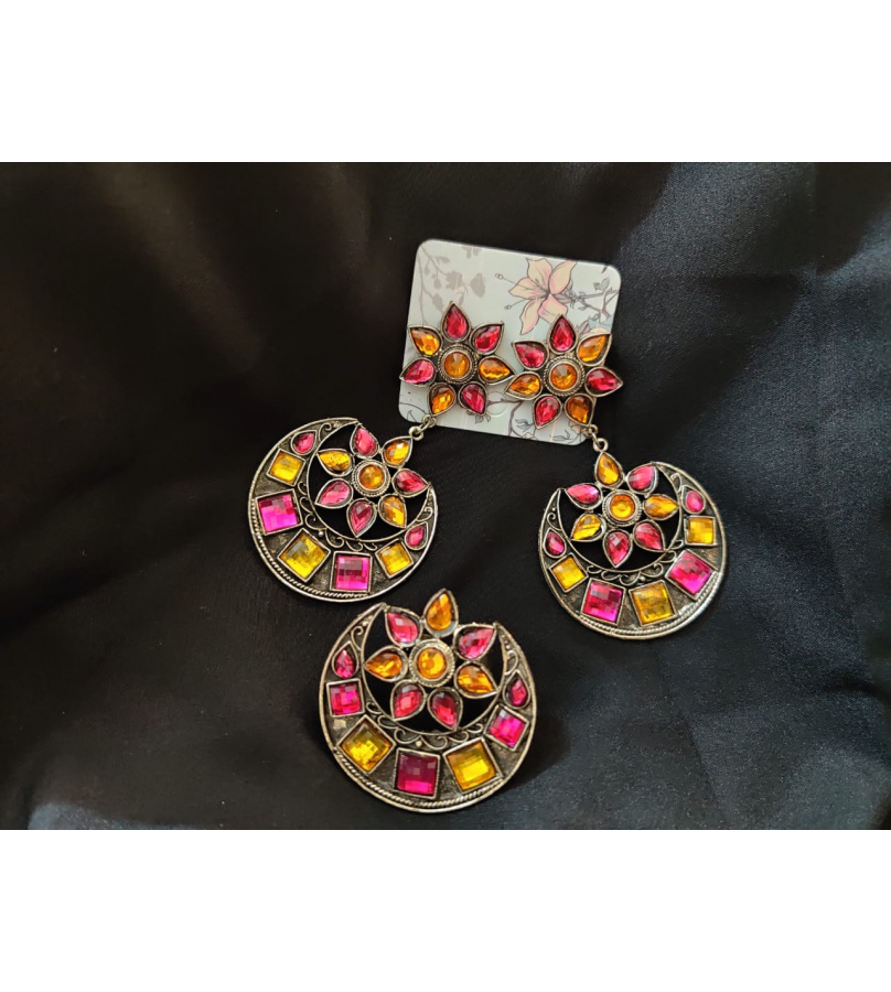 Afghani Yellow and Pink Mirror Stone Work Chandbali Earrings And Ring Combo