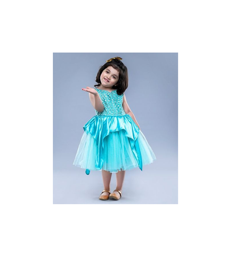 Jelly Jones Floral Embroidered Tulle Blue Dress
