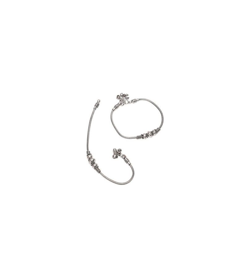 German Silver Bead Design Oxidized Alluring Anklets