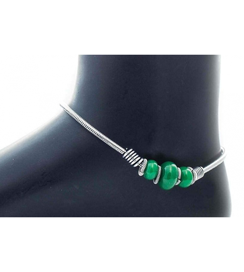 German Silver Green Bead Design Oxidized Alluring Anklets