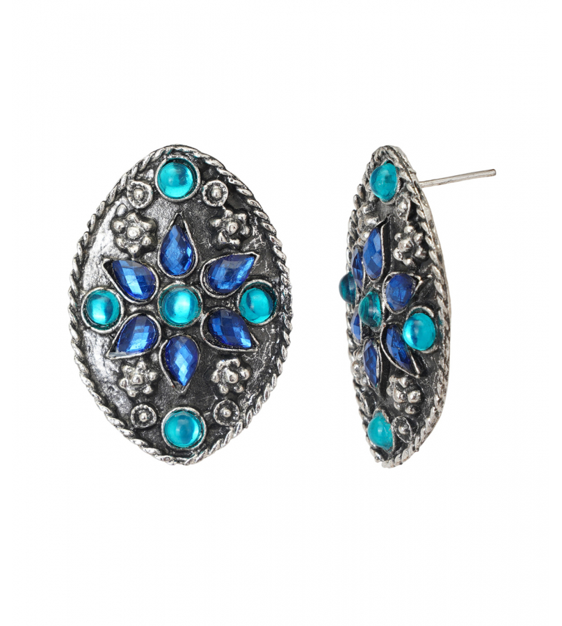 Afghani Crescent Shaped Rhinestones Studded Necklace And Earrings Set - Blue