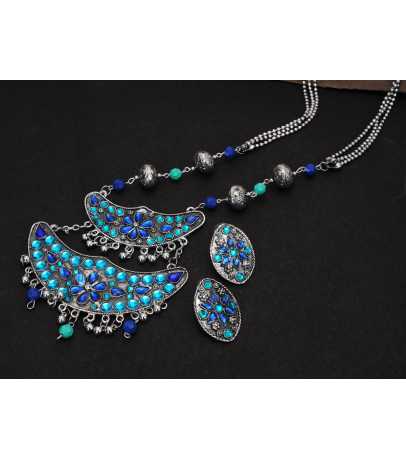 Afghani Crescent Shaped Rhinestones Studded Necklace And Earrings Set ...