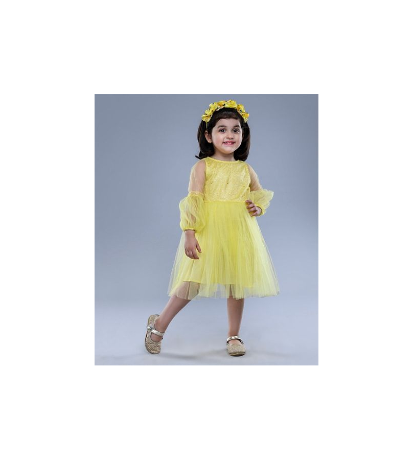 Jelly Jones Sequin Embellished Full Sleeves Tulle Yellow Dress