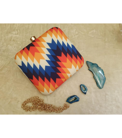 Multi-color Abstract Print Clutch