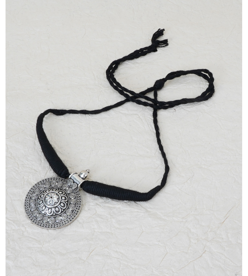 Beautifully Crafted Black Thread Round Pendant