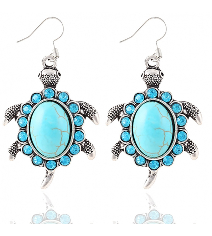 Tortoise Design Blue Stone Earrings