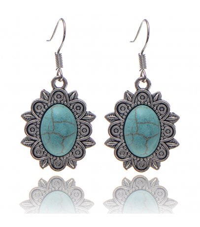 Oval Blue Stone Earrings
