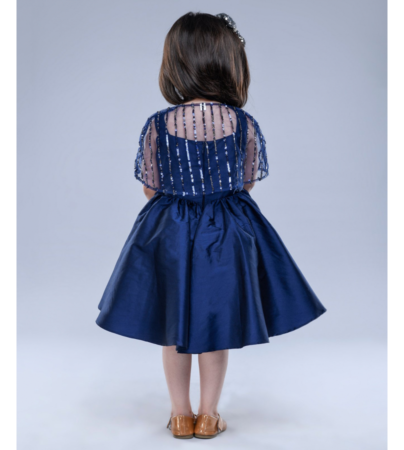 Jelly Jones Sequin Detailed Cape With Solid Umbrella Cut Navy Blue Dress