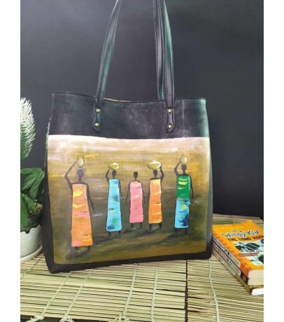 Five Ladies Hand Painted Fabric Hand Bag