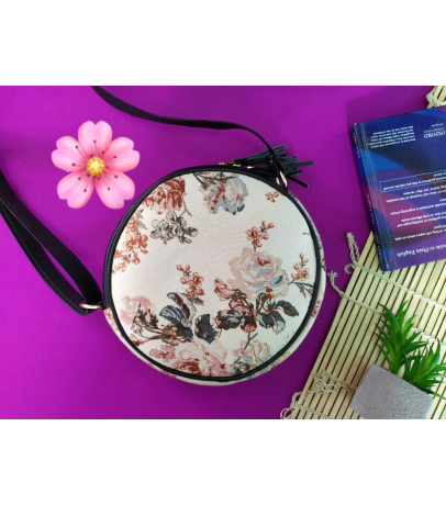 Handcrafted Round Shaped Fabric Sling Bag With Floral Print