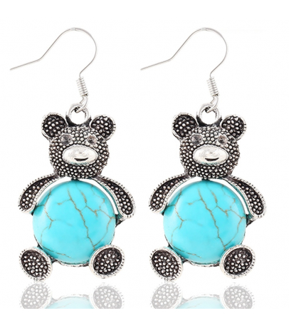 Teddy Bear Blue Stone Earrings
