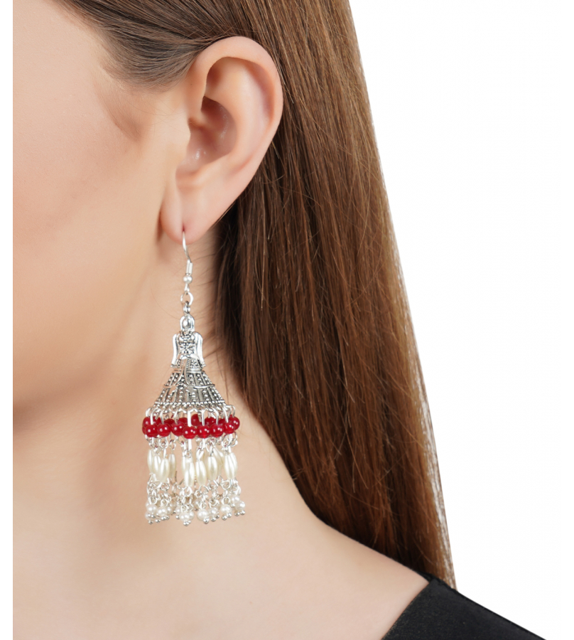 Doll And Drop Red & White Beaded Silver Oxidized Earrings
