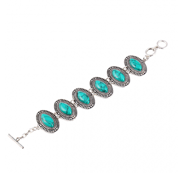 Green Stone Studded Oval Design Bracelet