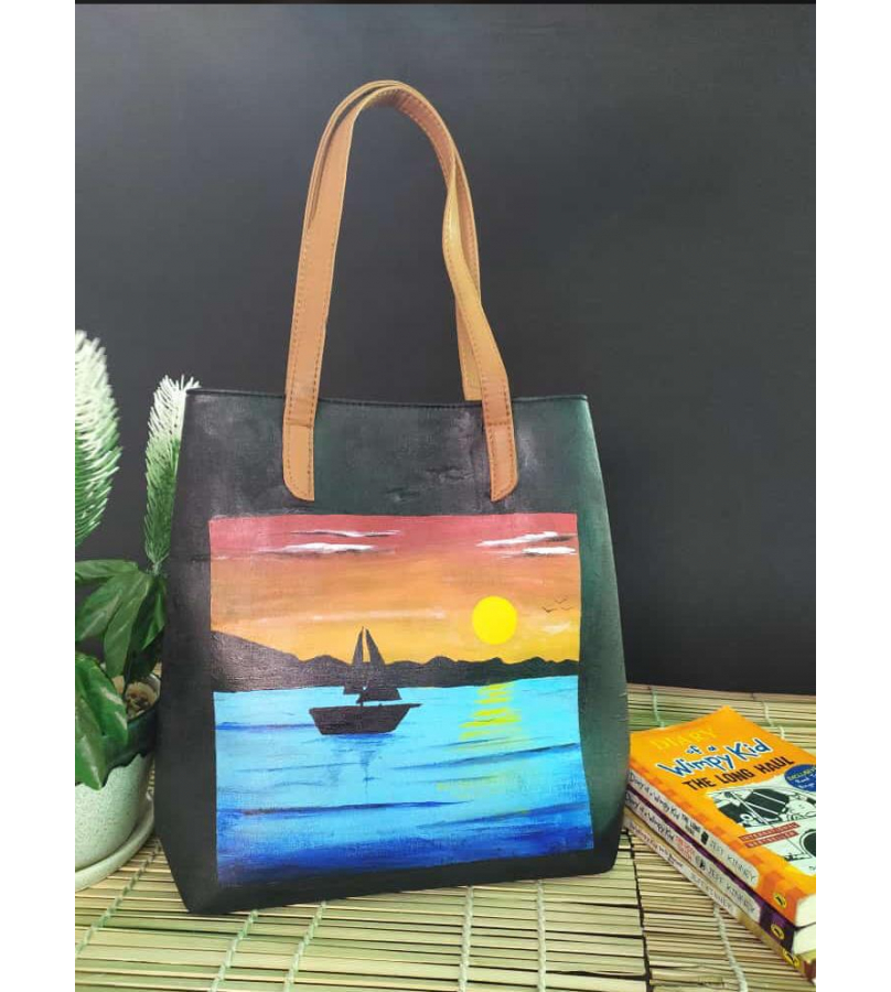 Hand Painted Scenic Beauty Fabric Hand Bag