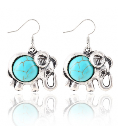 Elephant Design Blue Stone Earrings