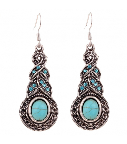 Crisscross Design Blue Stone Earrings