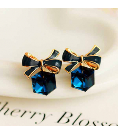 Little Cubic Bow Dark Blue Earrings