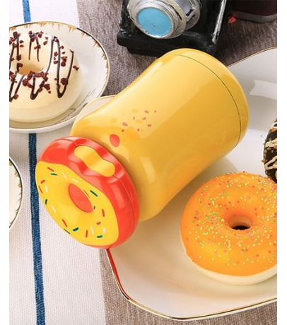 Donut Look Lid Stainless Steel Yellow Water Bottle