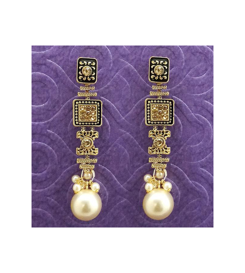 Antique Gold Plated Brown Stone Pearl Dangler Earrings