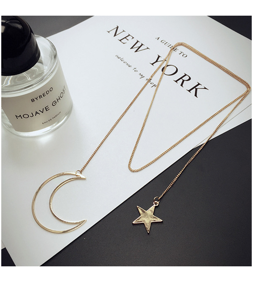 Double Pendant Long Chain Moon Star Necklace