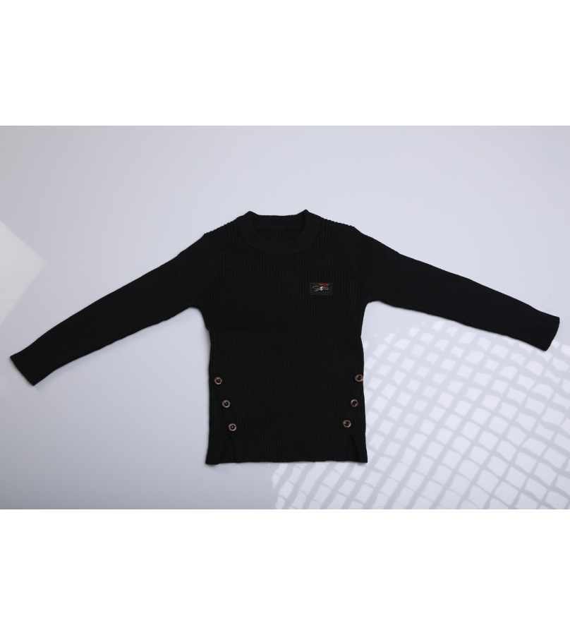 Black Sweater With Side Cuts And Button Details