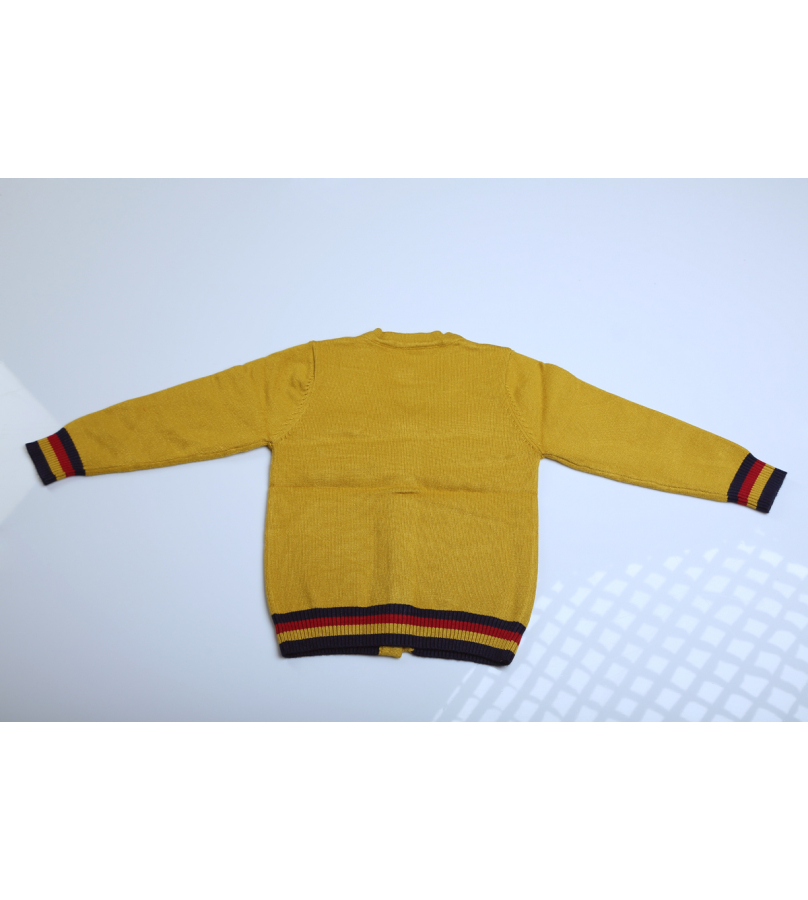 Front Open Button Closure Mustard Sweater