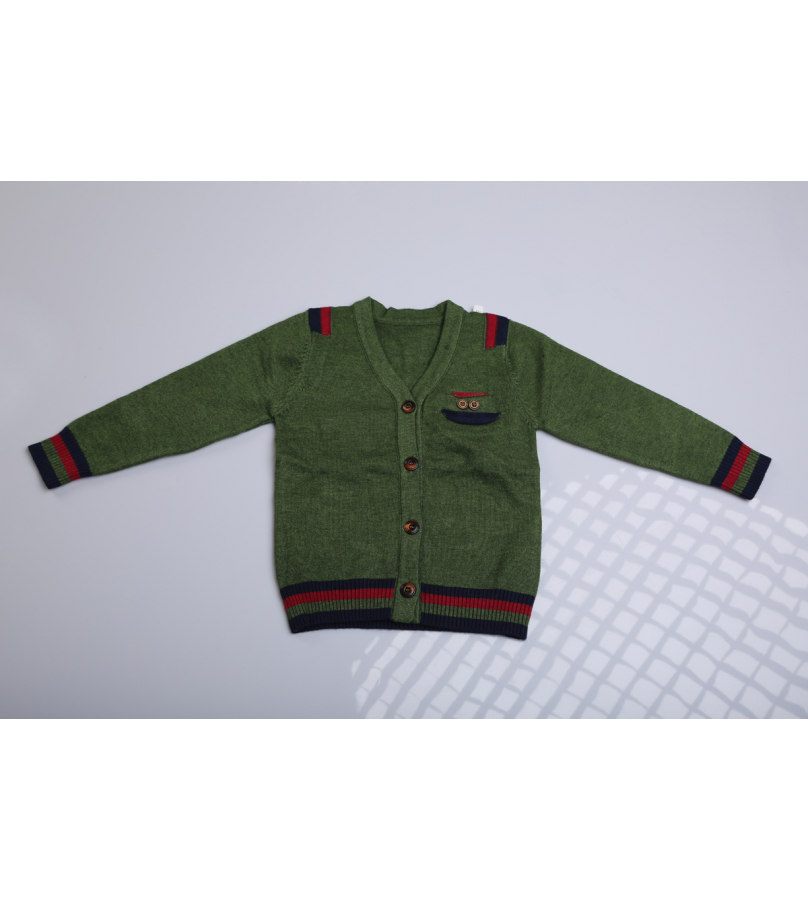 Front Open Button Detailed Green Sweater