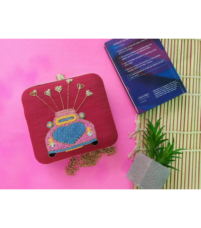Car Design Embroidery Work Red Clutch