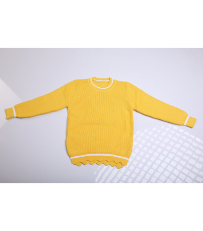 Yellow Sweater With Bottom Cut Design