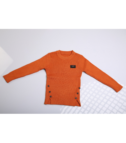 Rust Brown Sweater With Side Cuts And Button Details