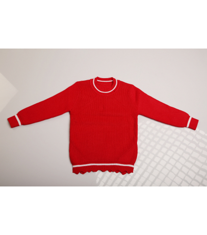Red Self Design Solid Sweater With Bottom for  Kids
