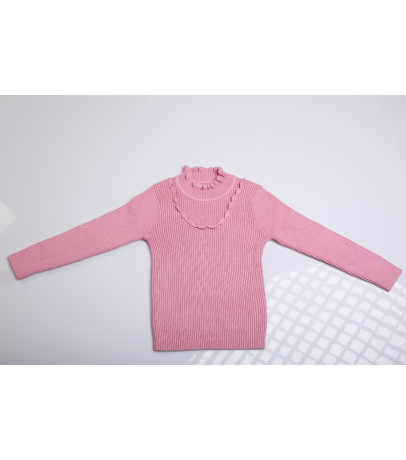 Detailed Neck Pink Self Design Sweater for Kids