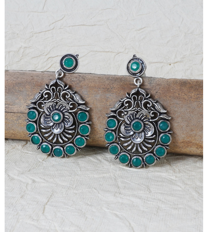 Green Stone Studded Floral Earrings