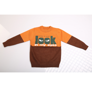 Look Into My Eyes Print Dual Tone Brown Sweater for Kids