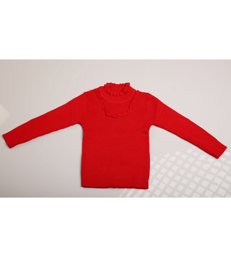 Detailed Neck Solid Red Self Design Sweater