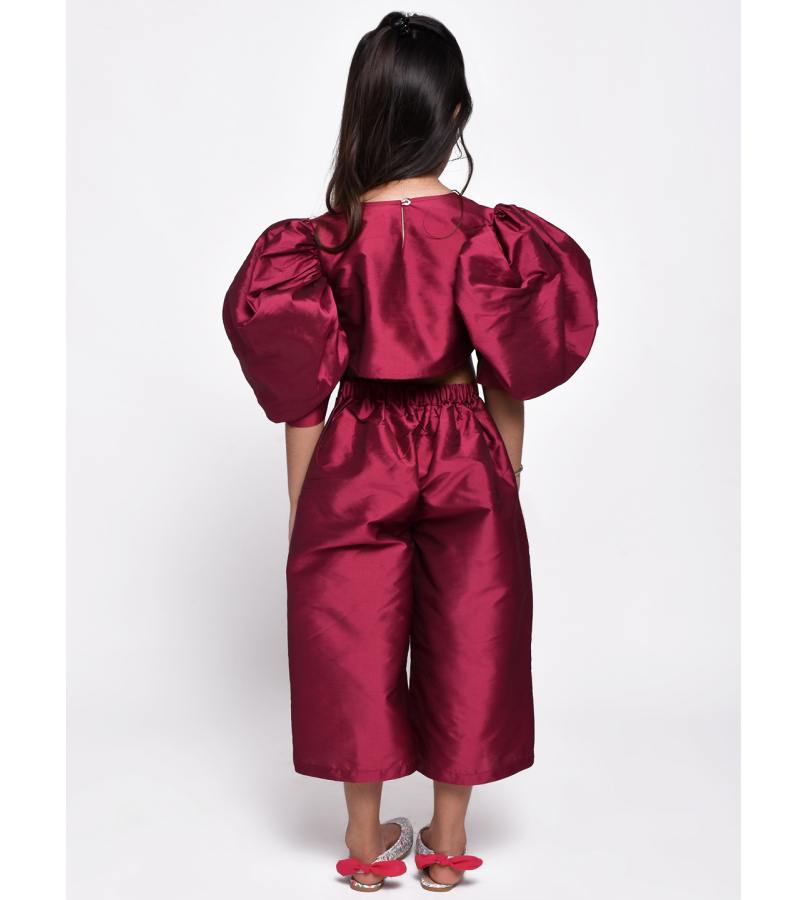 Jelly Jones Magenta Puff sleeves Culottes Top