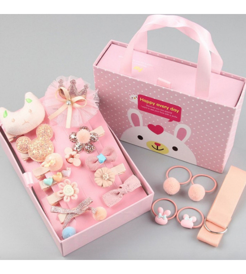 18 Pcs Trendy Hair Accessories Gift set for Girls - Pink