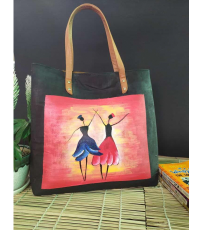 Dancing Lady Hand Painted Fabric Hand Bag