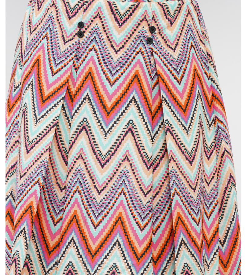 Multicolor Printed Front Pleated Knee Length Skirt
