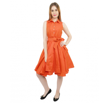 Exquisite Orange Asymmetrical Silk Dress With Belt