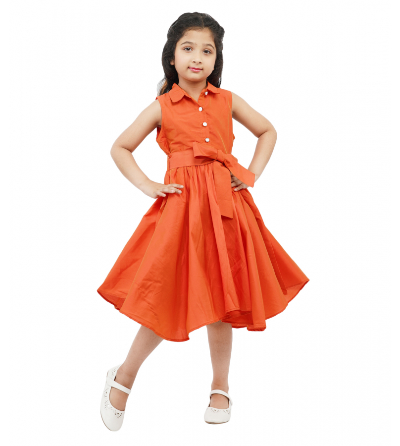 Exquisite Orange Asymmetrical Silk Dress With Belt Combo