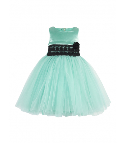 Sea Green Blocked Fit and Flare Dress