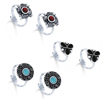 Oxidized Stone Studded Toe Rings Combo of 3